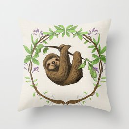 Sloth in Jungle Wreath Throw Pillow