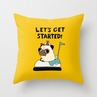 pug Throw Pillows featuring PUG! by Jarvis Glasses