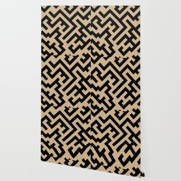 Black and Tan Brown Diagonal Labyrinth Wallpaper