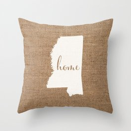 Mississippi is Home - White on Burlap Throw Pillow