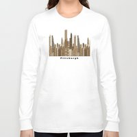 pittsburgh Long Sleeve T-shirts featuring Pittsburgh skyline vintage by bri.buckley