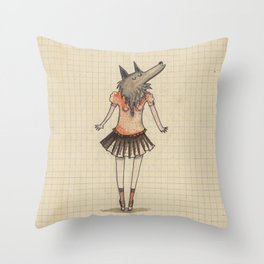 Woman Wolf at school Throw Pillow