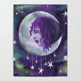 Lady in the Moon Poster