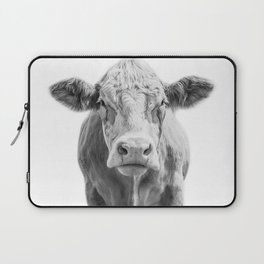 Highland Cow Portrait | Animal Photography | Black and White | Art Print Minimalism | Farm Animal Laptop Sleeve