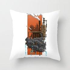 Pixel Landscape : Steam Factory Throw Pillow
