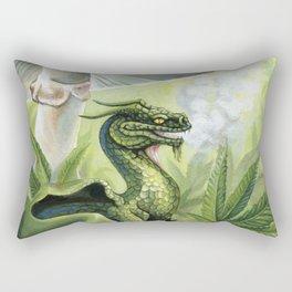 Smoking Dragon in Cannabis Leaves Rectangular Pillow