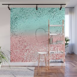 Summer Vibes Glitter Heart #1 #coral #mint #shiny #decor #art #society6 Wall Mural
