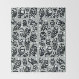 Flock of Owls Throw Blanket