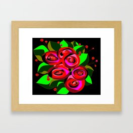 A Bouquet or Roses with a Black Background Framed Art Print