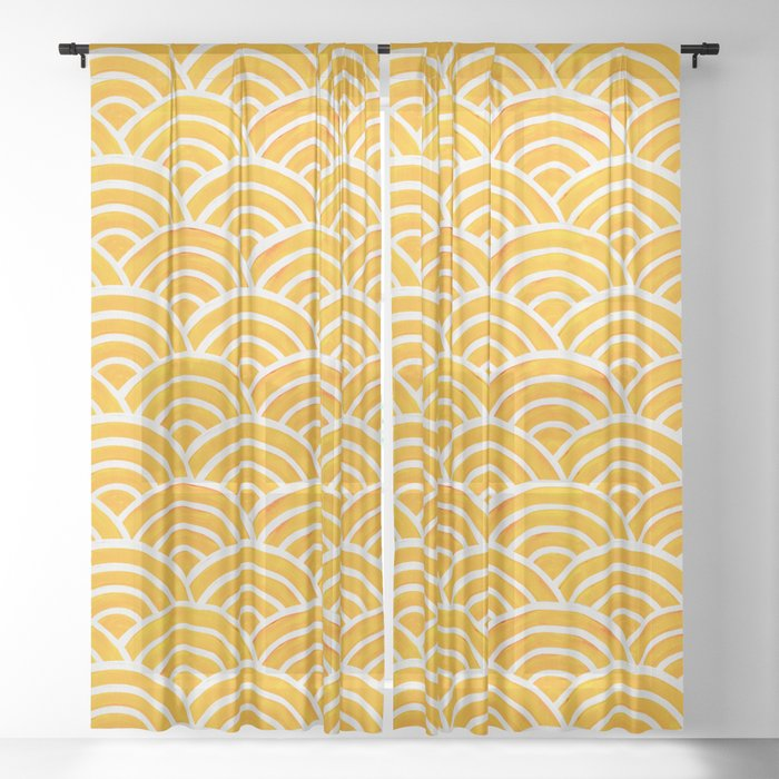 Japanese Seigaiha Wave – Marigold Palette Sheer Curtain