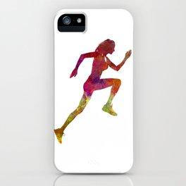 Woman runner running jogger jogging silhouette 02 iPhone Case