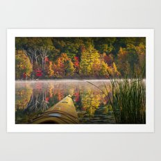Kayaking on a Small Lake in Autumn Art Print
