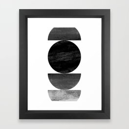 Mid Century Modern Black Ombre Geometric Abstract Framed Art Print