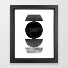 Mid Century Modern Black Ombre Geometric Abstract Framed Art Print