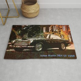 Aston Martin DB4 GT 1960 vintage classic car on New Orleans colorful map Rug