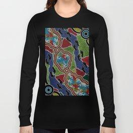 Aboriginal Art Authentic - Walking the Land Long Sleeve T-shirt