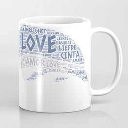 Dolphin illustrated with Love Word of different languages Coffee Mug