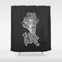 seattle Shower Curtains featuring SEATTLE  by Nicksman