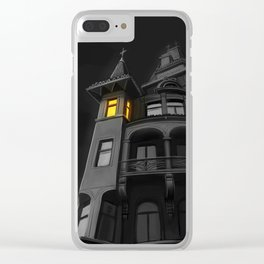 Haunted House (#Drawlloween2016 Series) Clear iPhone Case