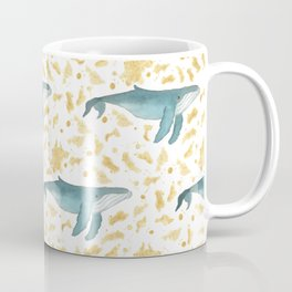 Blue Whales Swimming in Gold Coffee Mug