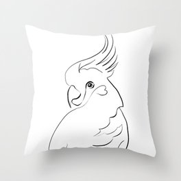 Parrot one line drawing Throw Pillow