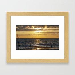 Fishing as the Sun Goes Down Framed Art Print