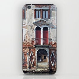 Old red building and canal - Venice iPhone Skin
