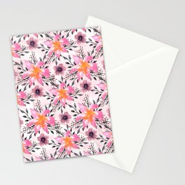 Festive Pink Flowers Watercolor Marbles Stationery Cards