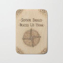 Brigid's Cross Blessing Woodburned Plaque Bath Mat