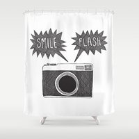 camera Shower Curtains featuring camera by Stacey Walker Oldham