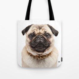 Helmut the Pug - Gold Chain Tote Bag