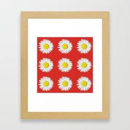 Retro Daisy · Red Framed Art Print