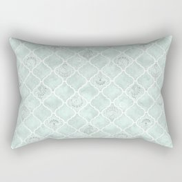 Watercolor Arabesque Tiles in Antique Glass Green with Art Nouveau Focals Rectangular Pillow