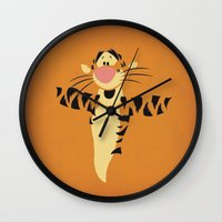 tigger Wall Clocks featuring Winnie the Pooh Tigger Nursery Art Retro Style Minimalist Poster Print by The Retro Inc
