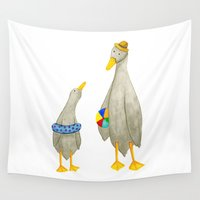 ducks Wall Tapestries featuring The ducks day out! by Isobel Woodcock Illustration