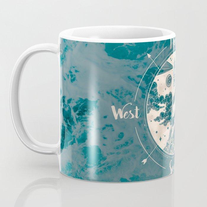 Lighthouse Compass Ocean Waves Gold Coffee Mug