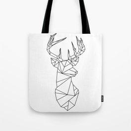 Geometric Stag (Black on White) Tote Bag