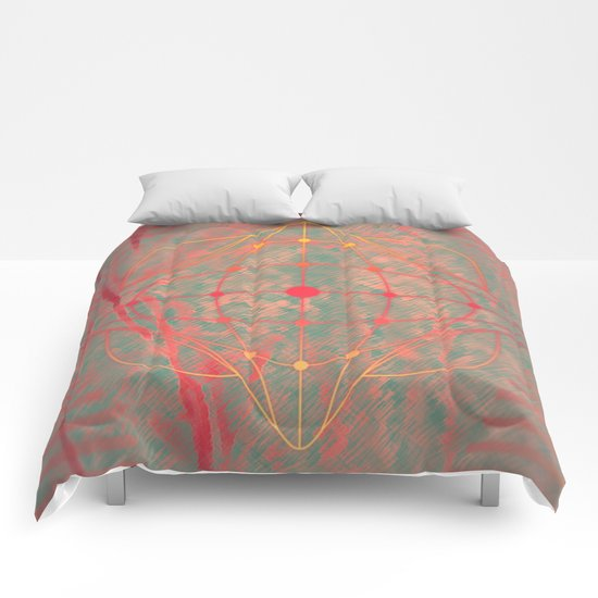 Hot pink grey purple fuchsia abstract fantasy  Comforters