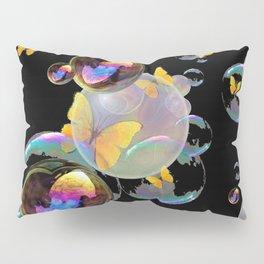 SURREAL GOLDEN YELLOW BUTTERFLIES  & SOAP BUBBLES Pillow Sham