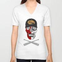 warrior V-neck T-shirts featuring warrior by mauro mondin