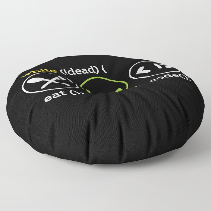 While Not Dead Eat Sleep Code Floor Pillow