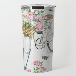 Vintage White Bicycle with English Roses on Paper Background Travel Mug