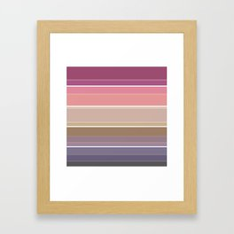 Simple striped pattern in bright crimson, beige and grey tones Framed Art Print