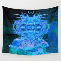 champagne Wall Tapestries featuring Blue Champagne by ICARUSISMART