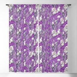Crocuses Garden Flowers Botanical Floral Pattern Purple Violet Blackout Curtain