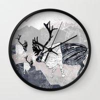 nordic Wall Clocks featuring Nordic Reindeer by Pencil Studio