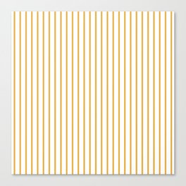 Marigold Yellow Pinstripe on White Canvas Print