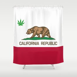 California Republic state flag with green Cannabis leaf Shower Curtain