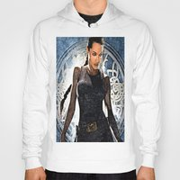 lara croft Hoodies featuring Angelina Jolie as Lara Croft by Brian Raggatt