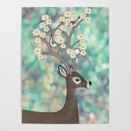 white tailed deer, white breasted nuthatches, & dogwood blossoms Poster